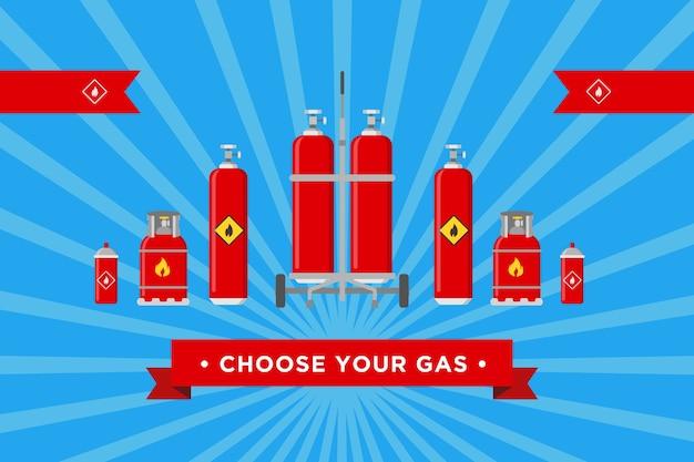 Escolha o design da tampa do gás. cilindros e balões com ilustrações vetoriais de sinais inflamáveis com texto publicitário. modelos para plano de fundo do site da empresa de produção e distribuição de gás Vetor grátis