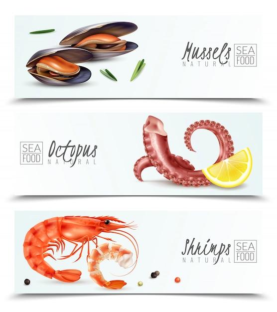 Escolha sustentável de frutos do mar 3 banners horizontais realistas com mexilhões camarão polvo aperitivo cocktail ingredientes isolados Vetor grátis