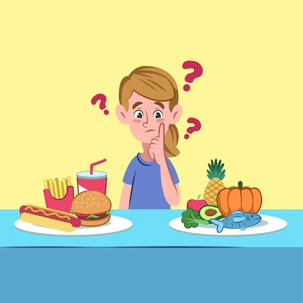 Escolhendo entre alimentos saudáveis ou não saudáveis Vetor grátis