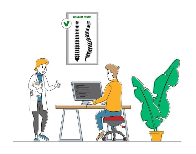 Escoliose e conceito de deformação da coluna vertebral. Vetor Premium