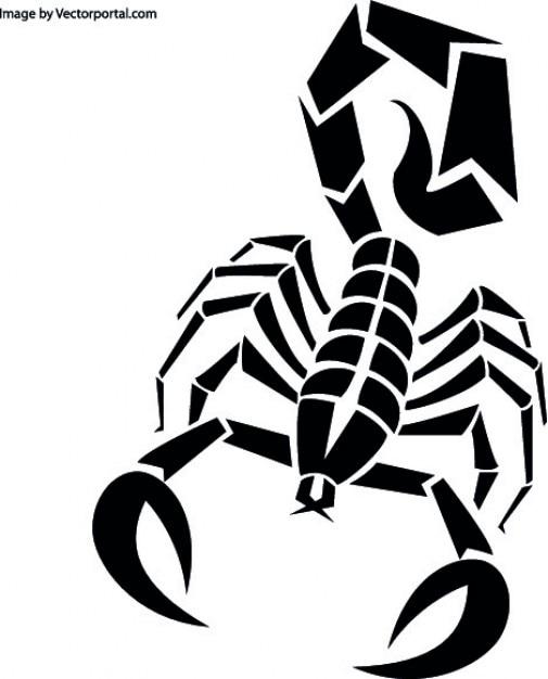 Escorpião em preto Vetor grátis