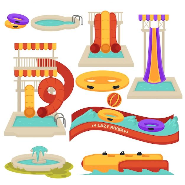 Escorregas de água aquapark e atrações de parque de diversões vector cartoon plana isolado Vetor Premium