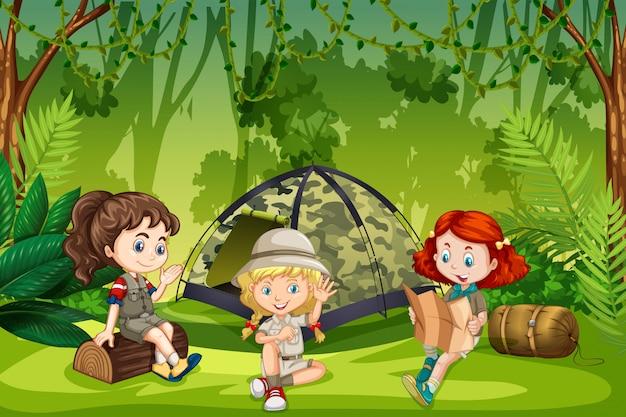 Escoteiras acampar ao ar livre Vetor Premium