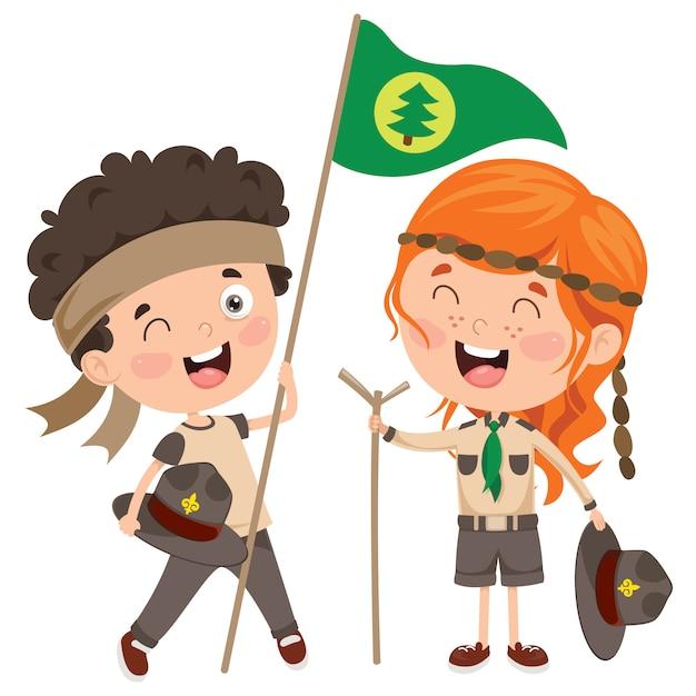 Escoteiro feliz crianças sorrindo Vetor Premium