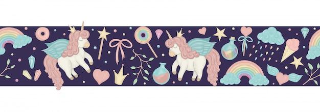 Escova de fronteira sem costura com unicórnios bonito estilo aquarela, arco-íris, nuvens, cristais, corações no fundo roxo escuro. Vetor Premium