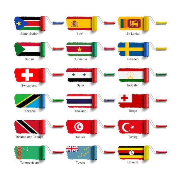 Escova de rolo com bandeira nacional Vetor Premium