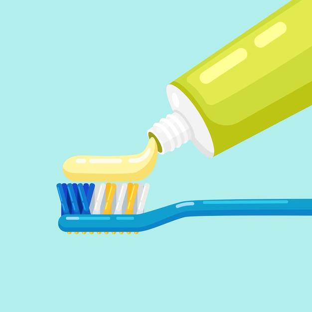 Escova e pasta de dentes para escovar os dentes. cuidado dental Vetor Premium