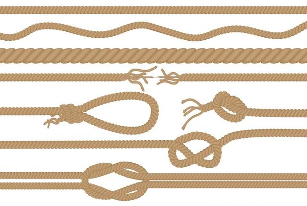 Escovas de corda com diferentes nós definidos Vetor Premium