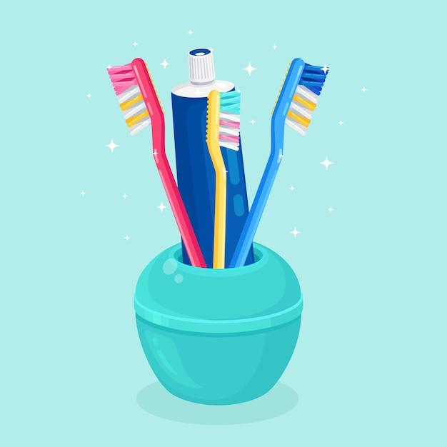 Escovas de dentes para escovar os dentes. cuidado dental Vetor Premium
