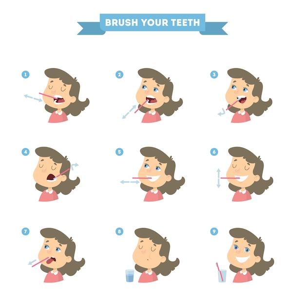 Escove os dentes com a garota. instrução saudável. Vetor Premium
