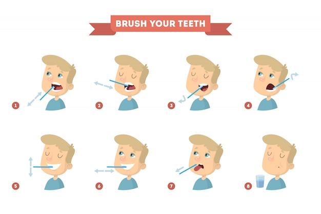 Escove os dentes com o menino. instrução saudável. Vetor Premium