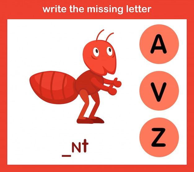 Escreva a letra que falta Vetor Premium