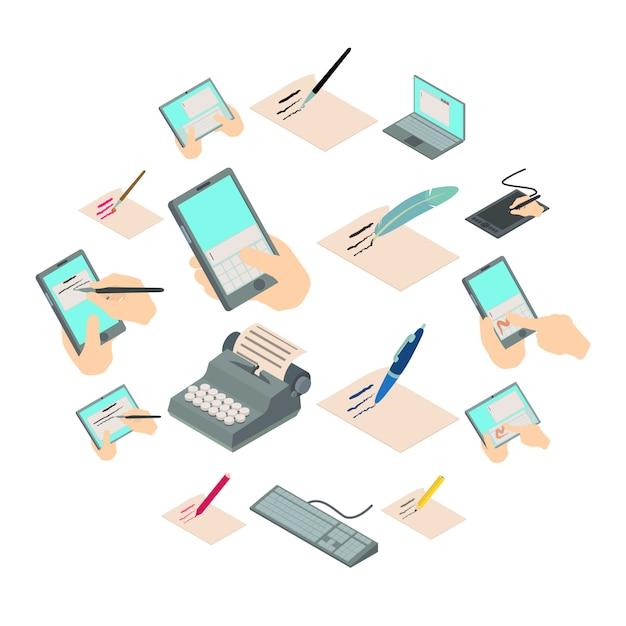 Escreva o conjunto de ícones de carta, estilo isométrico Vetor Premium