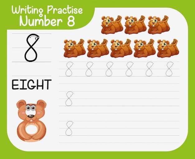 Escrevendo a prática número oito Vetor grátis