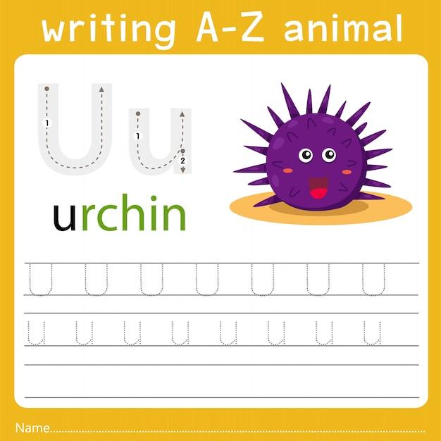 Escrevendo az animal u Vetor Premium