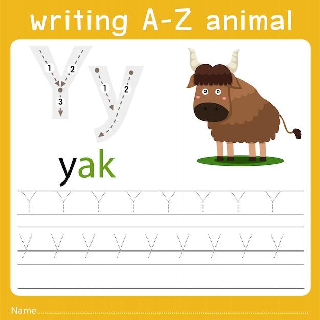 Escrevendo um animal az Vetor Premium