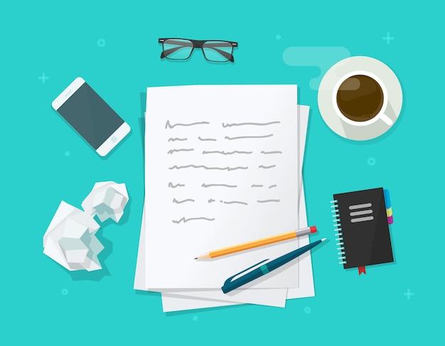 Escrever carta ou artigo sobre ilustração de mesa de mesa de trabalho de autor de escritor Vetor Premium
