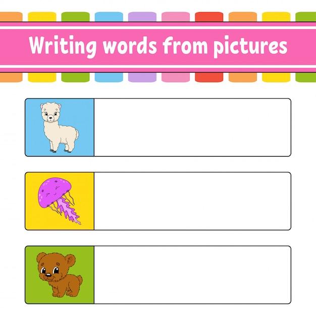 Escrever palavras a partir de imagens. planilha de desenvolvimento de educação. jogo de aprendizagem para crianças. página de atividade. Vetor Premium