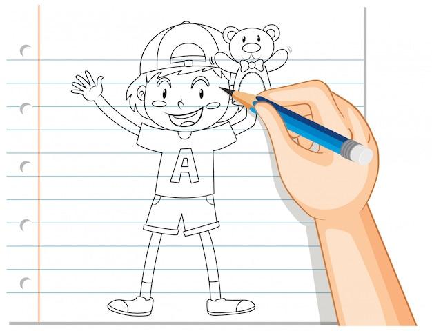 Escrita à mão de menino segurando o contorno do ursinho de pelúcia Vetor grátis