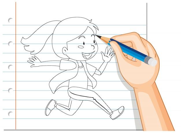 Escrita de mão de menina correndo contorno Vetor grátis