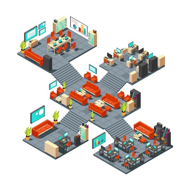 Escritório 3d profissional corporativo. centro de negócios isométrica andares ilustração vetorial interior Vetor Premium