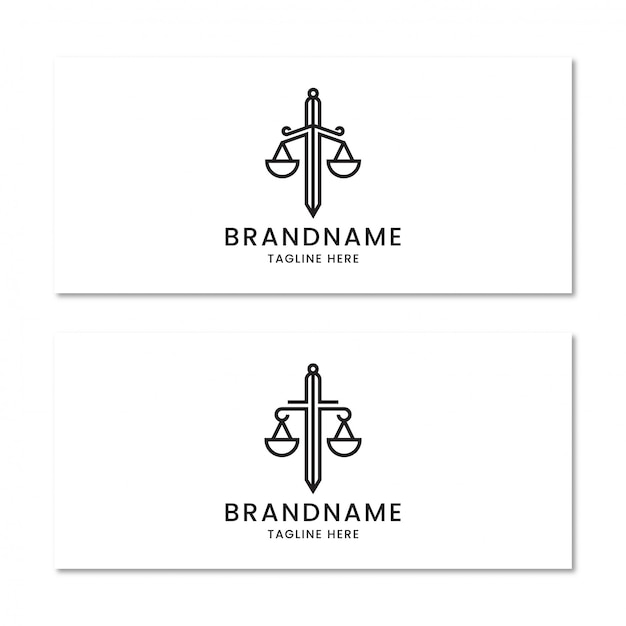Escritório de advocacia com modelo de design de logotipo de espada Vetor Premium