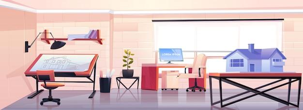 Escritório de arquiteto com planta e modelo de casa Vetor grátis