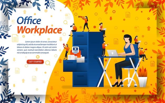 Escritório e local de trabalho. Vetor Premium