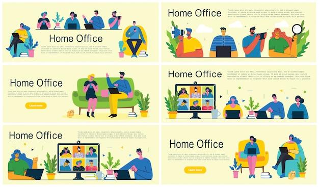 Escritório em casa. trabalhar em casa, espaço de coworking, webinar, ilustração de estilo simples de vetor de conceito de videoconferência Vetor Premium