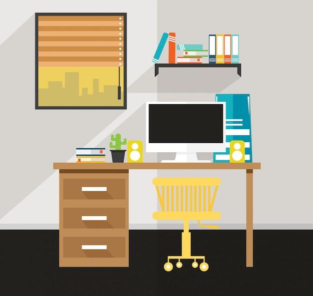 Escritório na casa há um vetor de design de mesa Vetor Premium