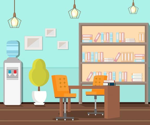 Escritório vazio, ilustração plana no local de trabalho Vetor Premium