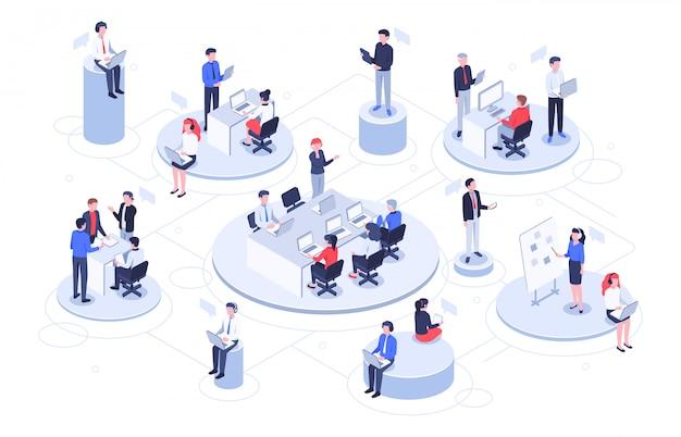 Escritório virtual isométrico. pessoas de negócios trabalhando juntos, espaço de trabalho de empresas de tecnologia e ilustração de plataformas de trabalho em equipe Vetor Premium