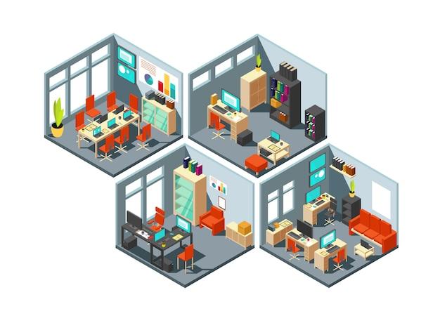 Escritórios de negócio isométricos com espaços de trabalho diferentes. Vetor Premium
