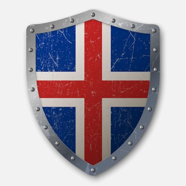 Escudo antigo com a bandeira da islândia Vetor Premium