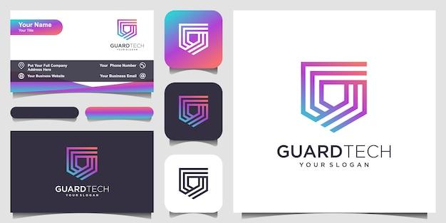 Escudo criativo conceito logotipo com estilo de arte linha. design de logotipo e cartão de visita Vetor Premium