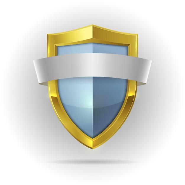 Escudo de guarda com emblema de fita em branco Vetor grátis