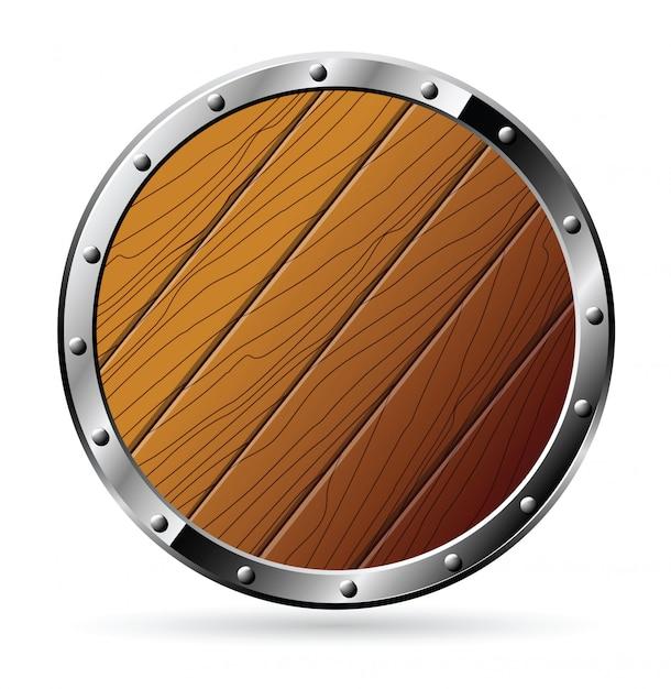Escudo de madeira redondo Vetor Premium