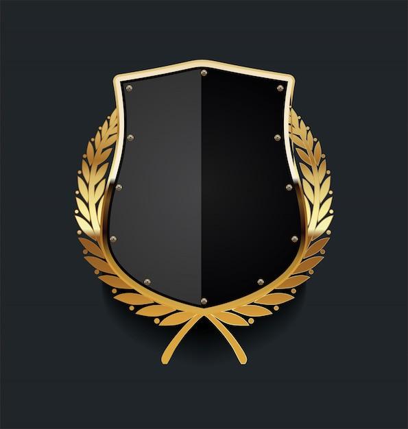 Escudo de ouro com coroa de louros dourada Vetor Premium