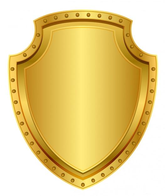 Escudo de ouro vazio. crachá de metal em branco com rebites Vetor Premium