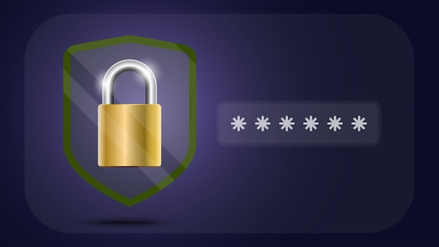 Escudo de proteção de dados on-line e abstrato com tecnologia de computador Vetor Premium