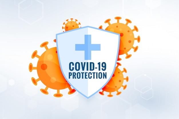 Escudo de proteção do coronavírus covid19 com células virais Vetor grátis