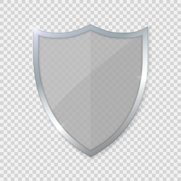 Escudo de vidro no fundo transparente Vetor Premium