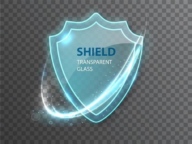 Escudo de vidro transparente. Vetor grátis