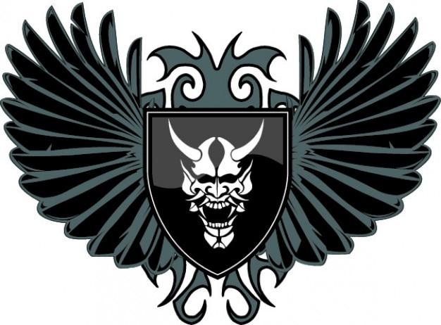 Escudo do diabo com asas vector icon Vetor grátis