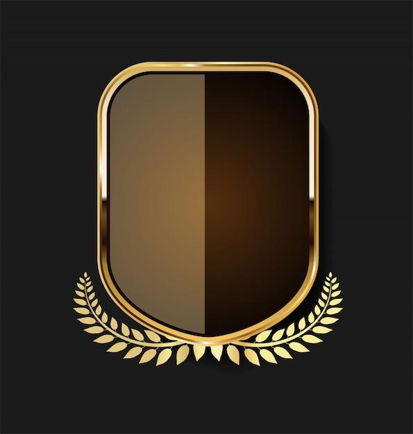 Escudo dourado Vetor Premium