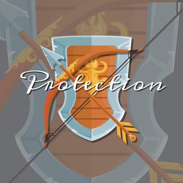 Escudo e flecha Vetor Premium