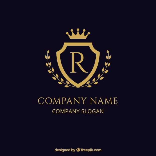 Escudo elegante logotipo dourado | Baixar vetores grátis