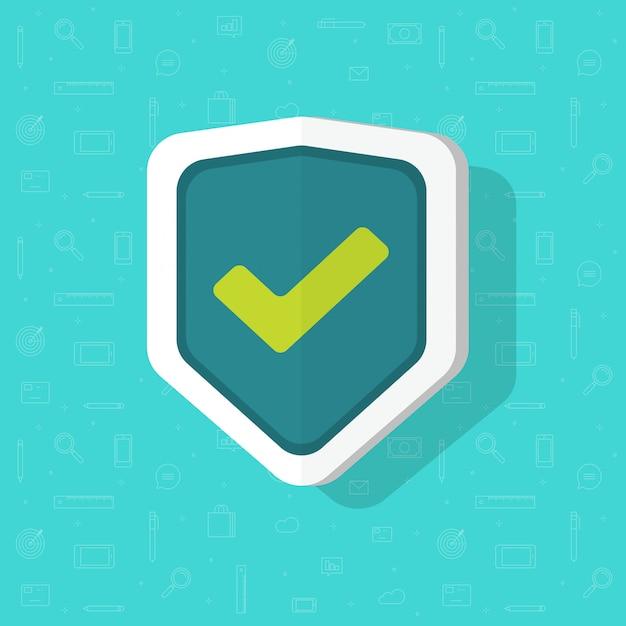 Escudo ícone plana dos desenhos animados símbolo isolado com marca de seleção Vetor Premium