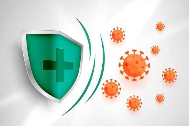 Escudo médico que protege o coronavírus para entrar no fundo Vetor grátis