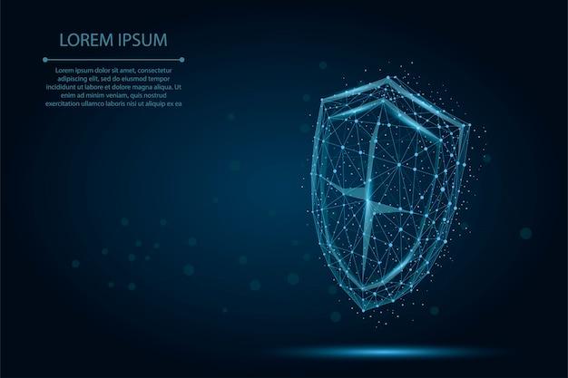 Escudo poli baixa poligonal abstrata. proteja e proteja o wireframe digital Vetor Premium